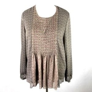 Coldwater Creek Taupe Embellished Blouse L